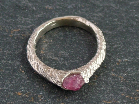 Small Traces Ring with Rough Cut Ruby
