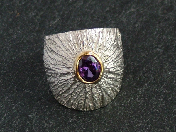 Broad Silver Ring with Amethyst