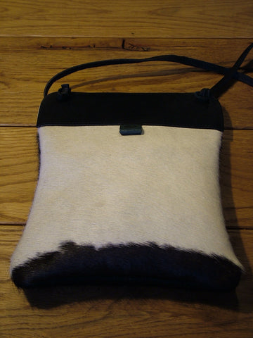 Black and White Cow Skin Pub Bag