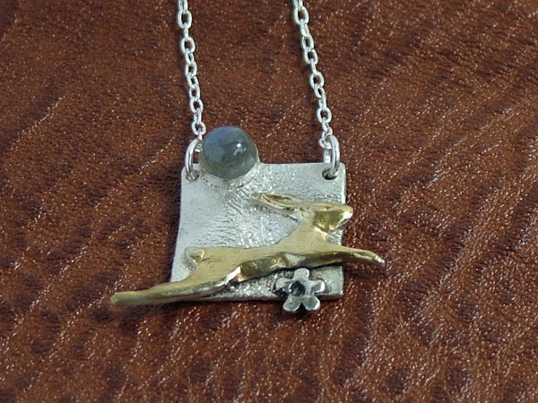 Hare in Square Pendant