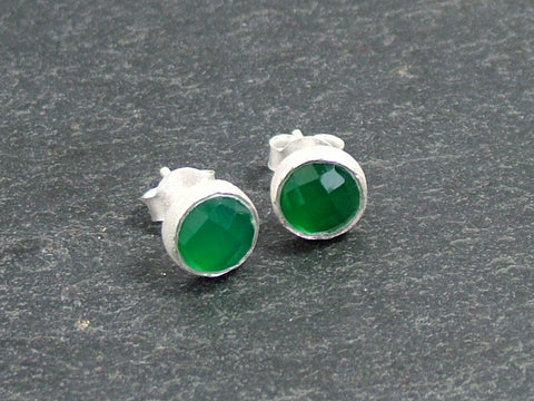 Cupcake Studs with Green Onyx