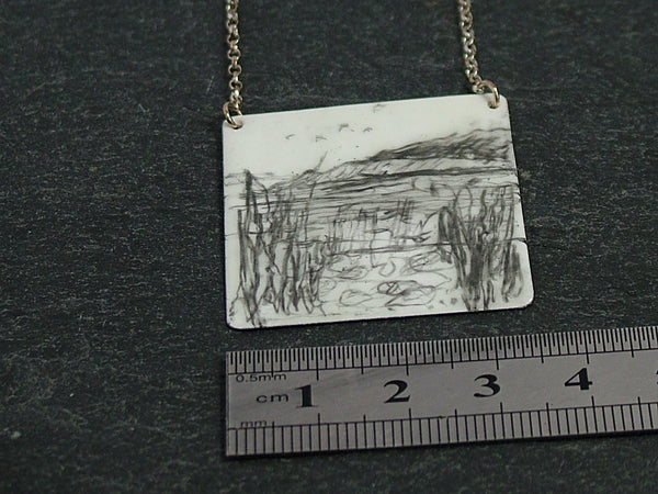 Large Square Silver and Enamel Pendant