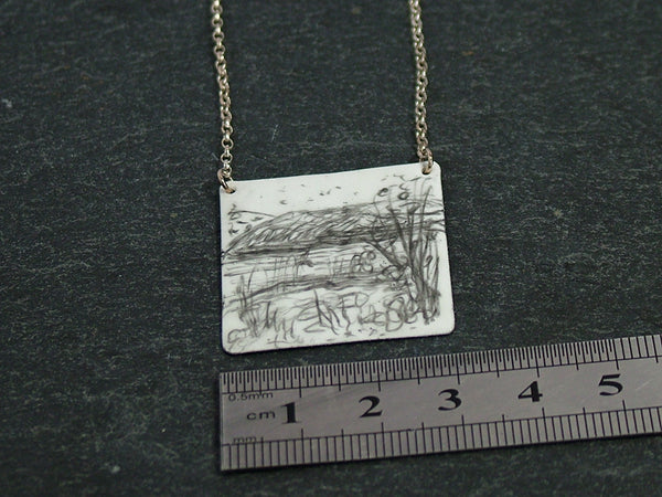 Small Square Silver and Enamel Pendant