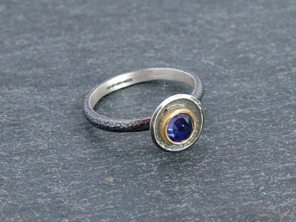 Textured and Oxidised Silver Ring with Rose Cut Iolite