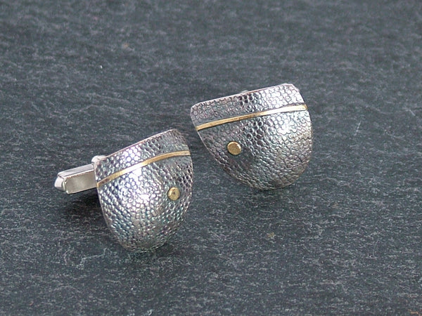Oxidised Silver Triangle Cufflinks with 18ct Gold Detail