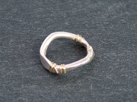 Hand Forged Silver Ring with Gold Detail
