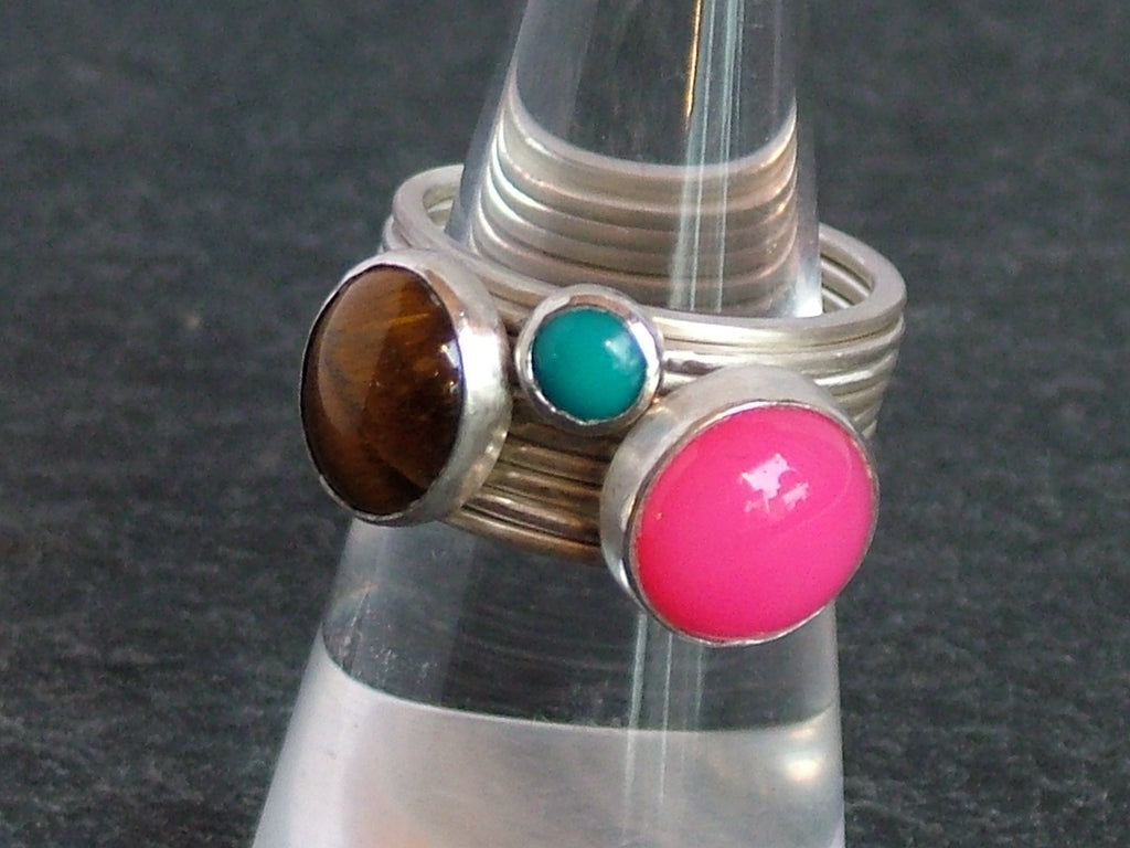 Silver Stacking Rings with Three Cabochon Stones