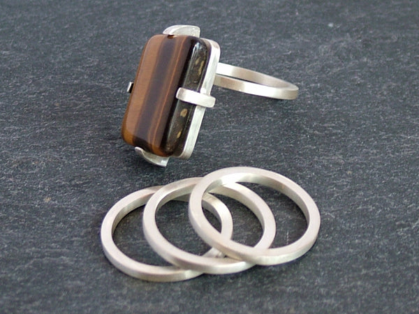 Chunky Silver Stacking Ring with Tiger's Eye