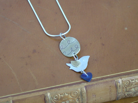 Bird, Heart and Oval Necklace