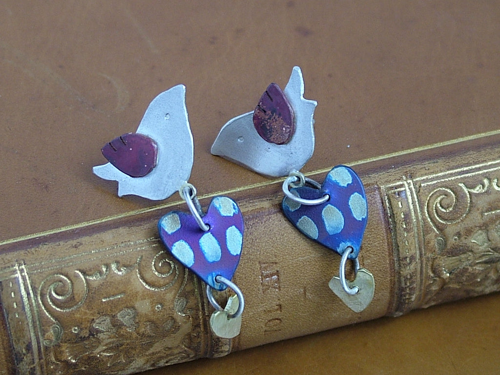 Bird and Double Heart Earrings