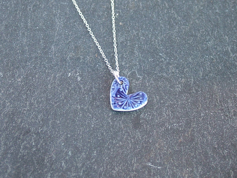 Handmade Porcelain Heart Necklace in Indigo