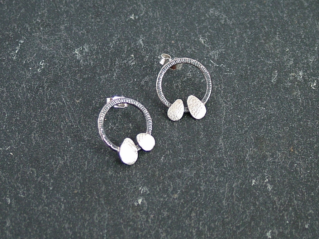 Oxidised Silver Circle Studs with Silver Petals