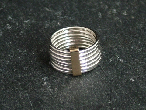 Silver Stacking Ring with Gold Band