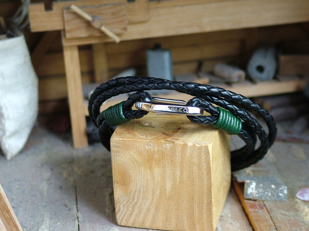 Double Wrap Leather Bracelet with Binding