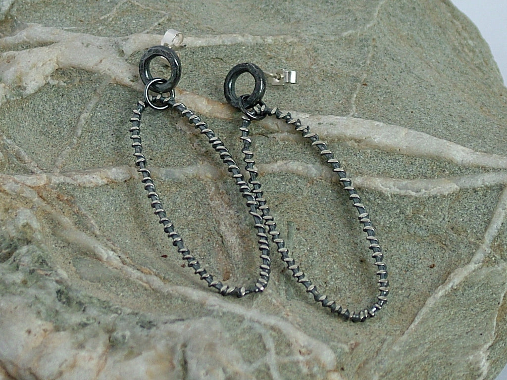 Oxidised Silver Wire Wrapped Oval Drop Earrings