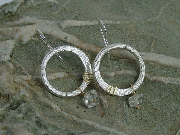 Polished Silver Circle Drop Earrings with Herkimer Diamond Quartz