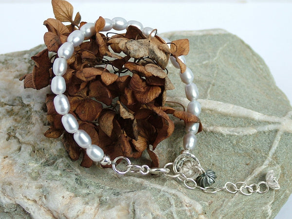 Pearl and Silver Cup Bracelet