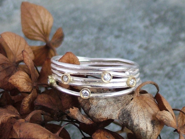 Open Silver Wrap Ring with 5 Diamonds