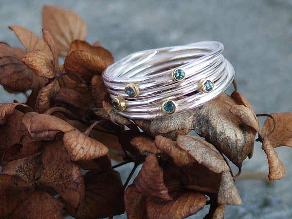 Open Silver Wrap Ring with Aquamarine Stones