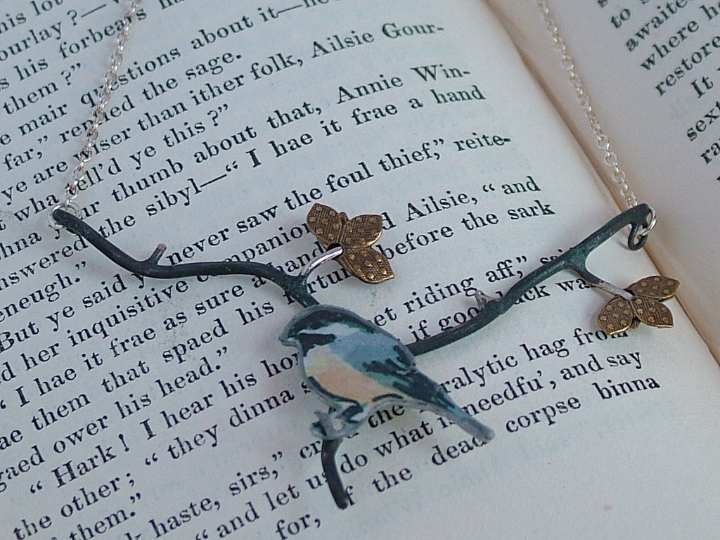 Chickadee in the Birch Tree Necklace