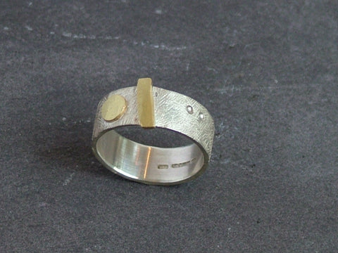 Textured Silver Ring with Gold Detail