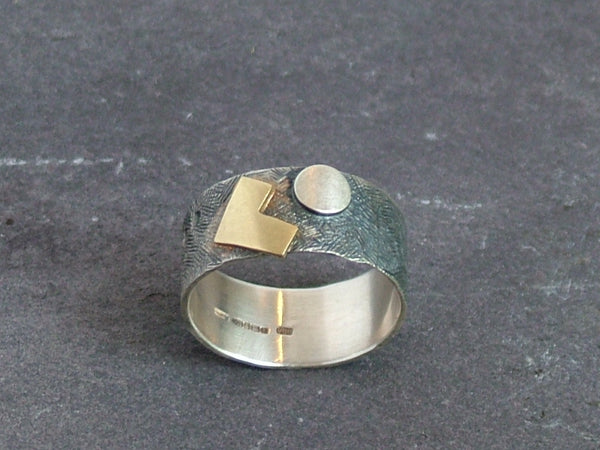 Textured Oxidised Silver Ring with Gold and Silver Detail