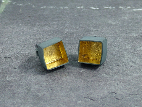 3D Box Stud Earrings