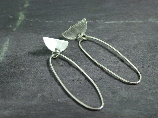 Silver Oval Statement Earrings