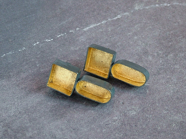 3D Box and Oval Stud Earrings