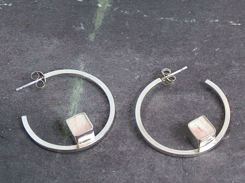 Silver and Concrete Cube Hoops