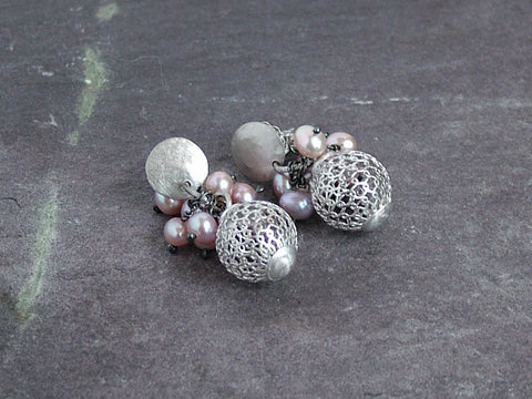 Woven Silver Ball Earrings With Pearls