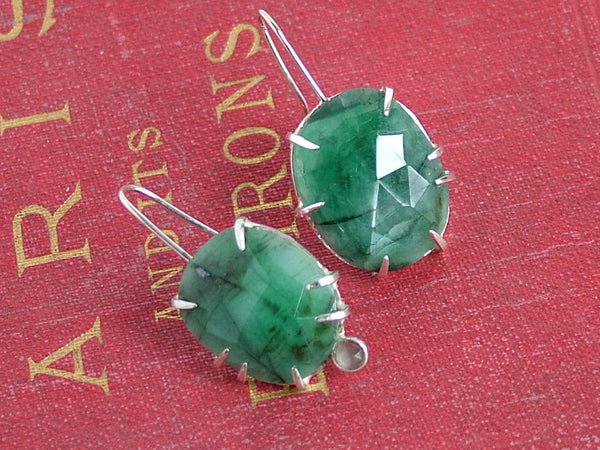 Emerald Silver Drop Earrings with Grey Moonstone