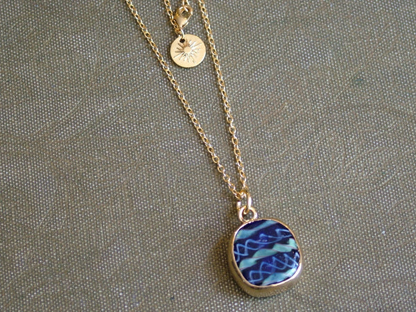 Blue Recycled Glass Pendant