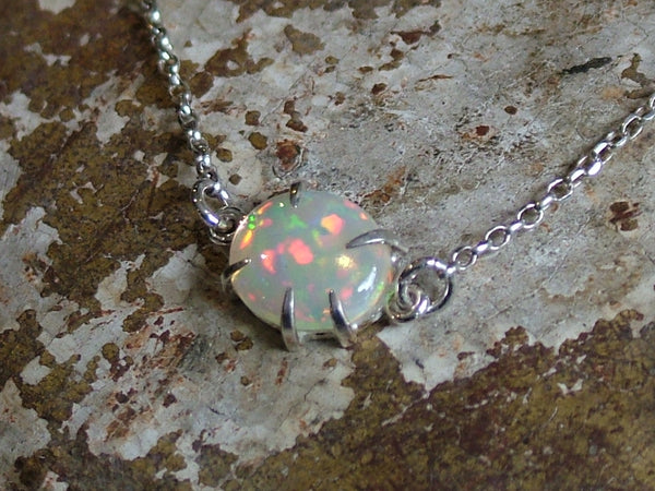 Opal and Silver Pendant