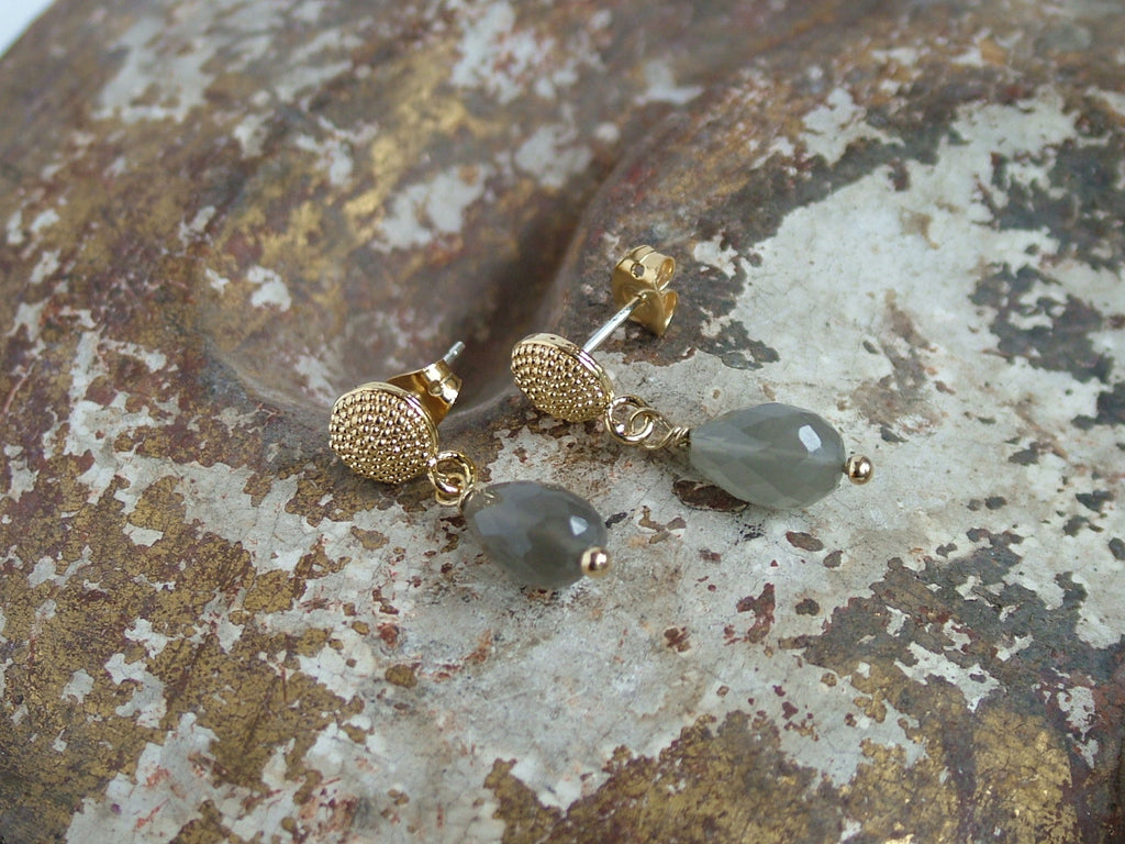 Talia Studs with Grey Moonstone