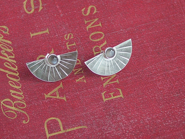 Silver Sunburst Earrings with Moonstone