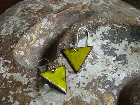 Yellow Enamel Triangle Earrings