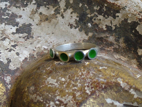 Vintage and Preloved Brushed Silver Ring with Four Green Enamel Circles