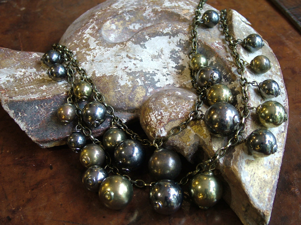 Vintage and Preloved Pewter and Brass Coloured Ball Necklace