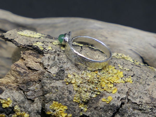 Monolith Textured Ring with Emerald