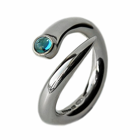 Polished Silver Ring with Top Set Blue Topaz
