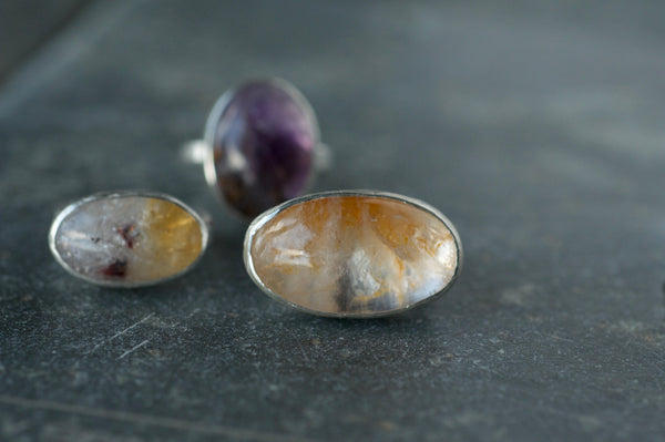 Small Oval Statement Ring with Purple Brazilian Lepidolite