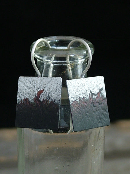 Square Silver and Oxidised Earrings