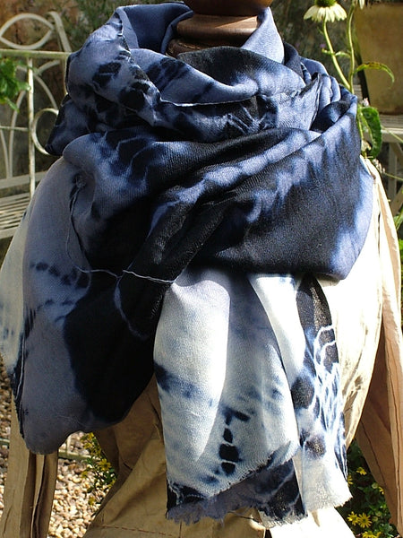 Tie and Dye Storm Wool/Silk Scarf