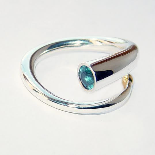 Silver and Blue Topaz Coil Ring