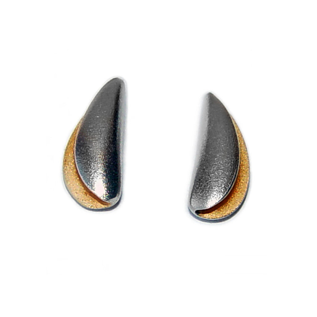 Sideways Facing Silver Shell Studs with Gold Plated Interior