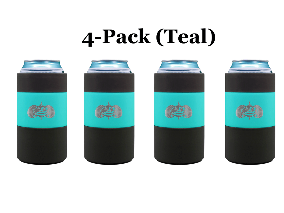 4-pack Teal Toadfish Non Tipping Can Cooler