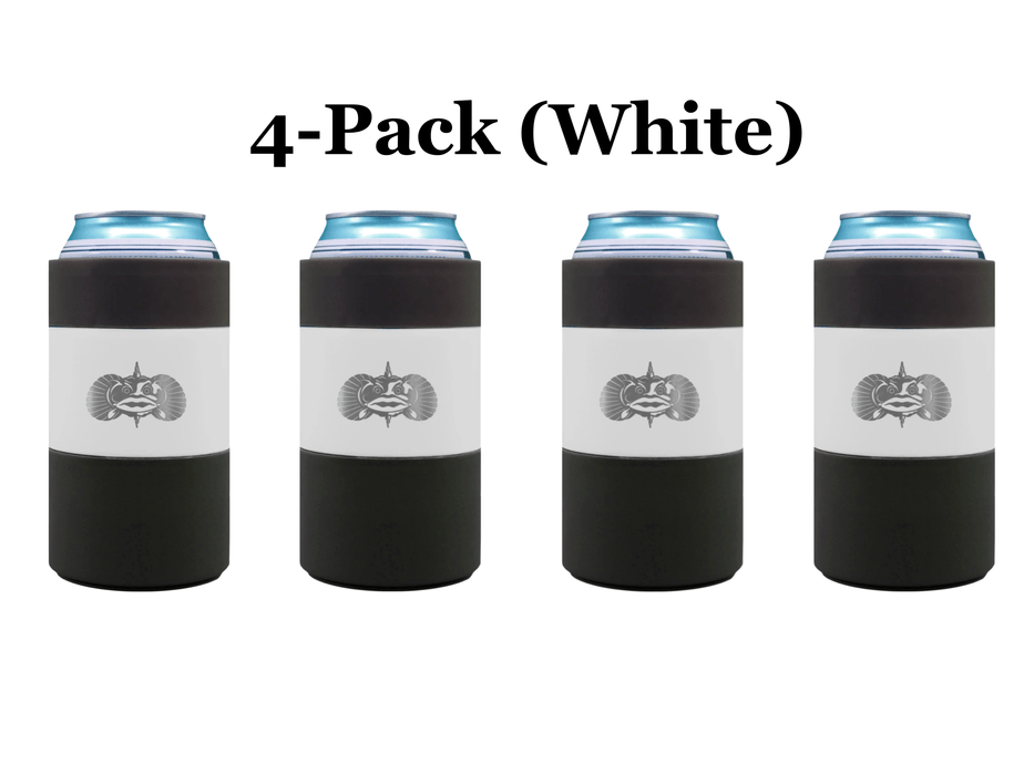 4-pack White Toadfish Non Tipping Can Cooler