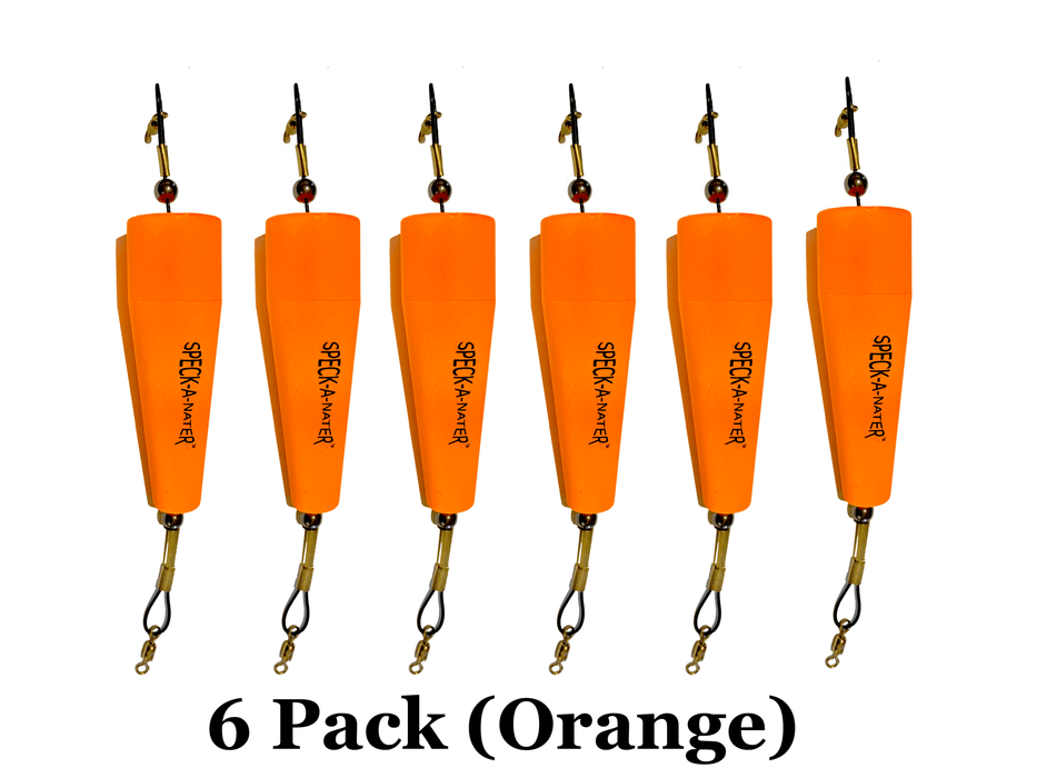 "6 pack 5"" Orange speck-a-nater popping cork"