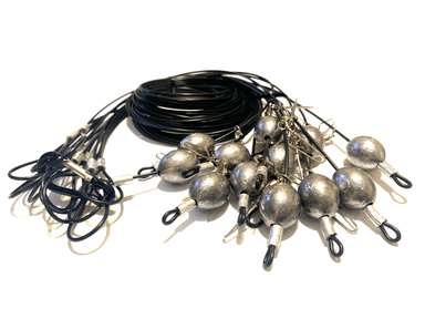 "72"" 8oz Egg Sinker Black PVC Coated Cable Texas Rig Decoy"